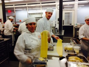 Terrence and Regina rollin' the Pappardelle - and getting to use Black Truffles!!!
