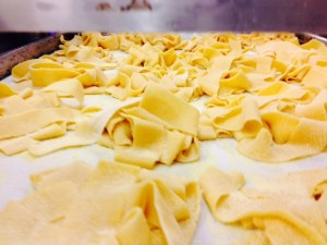 Fresh pappardelle ready for the water