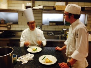 Chef Pascal talk tart with Spencer