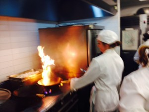 Flames from the stir fry station
