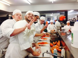 The gang prepping carrots for tomorrow