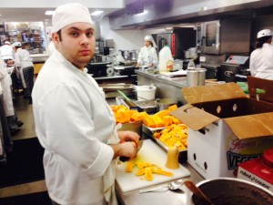 Erik and the butternut squash for tomorrow