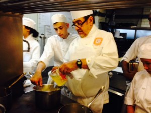 Vitor helping chef with the Hollandaise demo - hey I thought we weren't allowed to help each other?