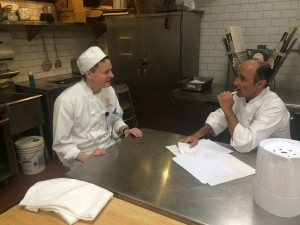 Me getting my evaluation (and talking tequila) with Chef Herve
