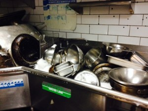 Sometimes the dishes pile up, even in a professional kitchen.