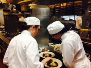 Meagan and Dalal helping each other. We're not allowed to tell chef who was helping whom.